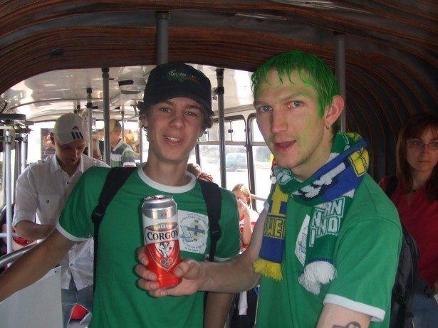 Green hair, beer in Bratislava, Northern Ireland away match with Luke, 2008
