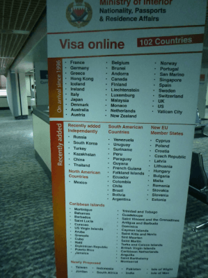 The list of Visa Online or on arrival for Bahrain Countries