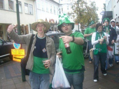 Marching to the stadium with Lewie Caple