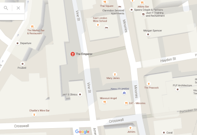 There is the Emperor Pub on Vine Street, but it's not the Vine Street on the Monopoly Board