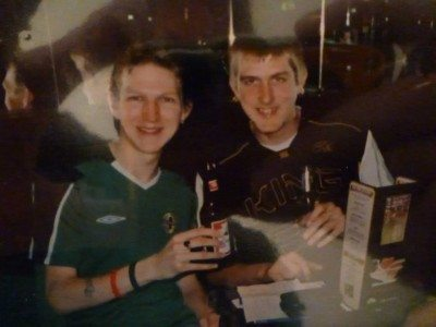 James and I on the Monopoly Pub Crawl in 2005.
