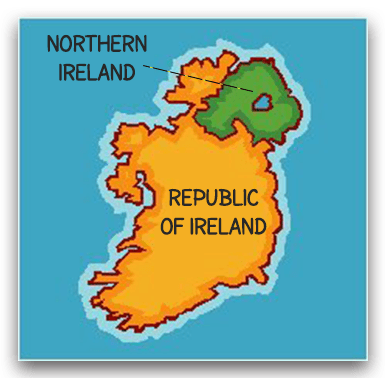 Ireland's divide into two countries: Northern Ireland and the Republic of Ireland