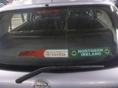 Stuart's car - Northern Irish people never forget where they're from