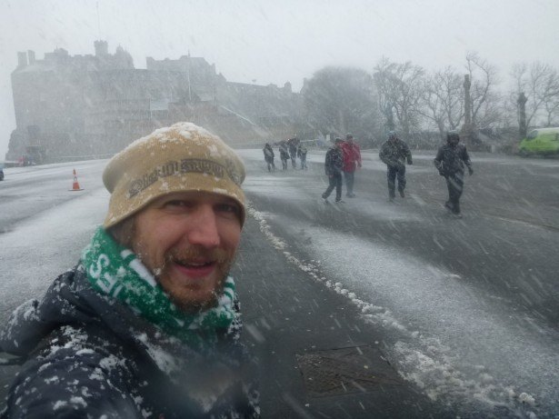 A snowy day at Edinburgh Castle