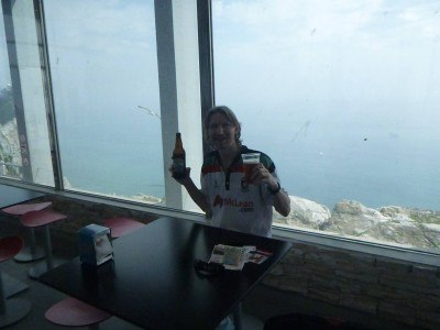 Having a Gibraltar Beer at the Top of the Rock