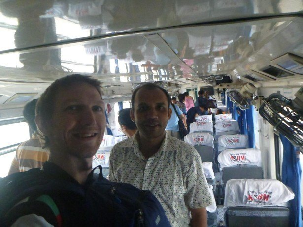 Goodbye to my friend Masoud at Chittagong station and all smiles on arrival after 16 hours.