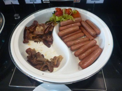 Beef bacon and sausages