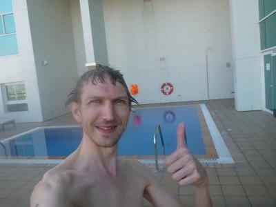 Enjoying a swim in the Ibis Seef Manama in Bahrain