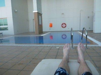 Relaxing by the pool in Ibis Seef Manama in Bahrain
