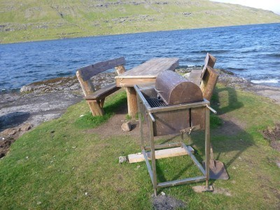 Picnic tables on route.
