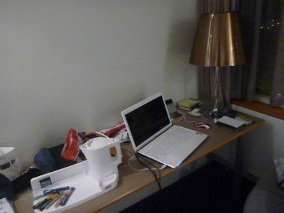 My writer's desk at the Hotel Foroyar