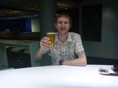 Having a local beer in Gras Cafe, Hotel Foroyar