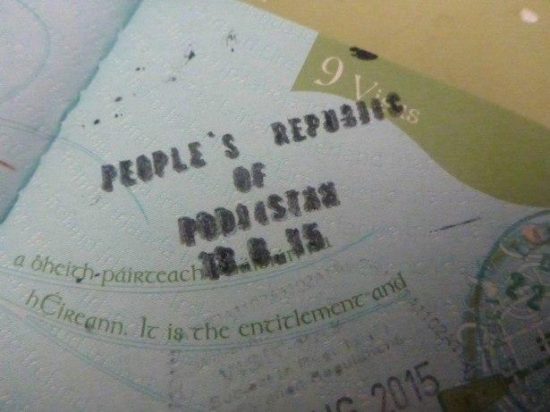 My Podjistan stamp on my Irish passport