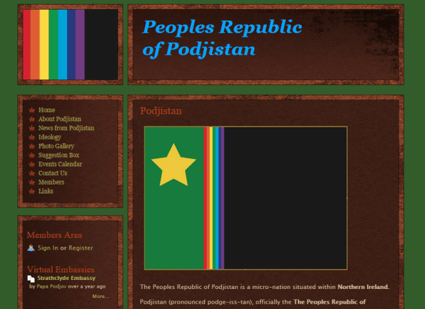 The website of the People's Republic of Podjistan