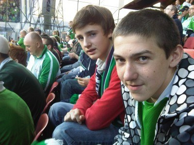 My brother Danny (front) and his mate Matt at Windsor Park a few years back.