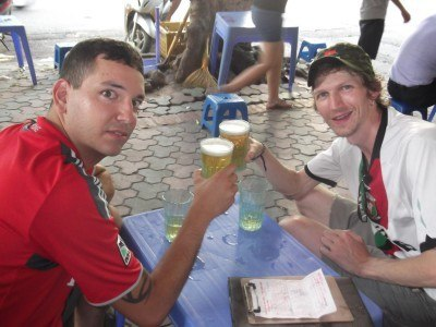 Nick and I on the beers in Hanoi, Vietnam