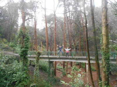 The woods at Alum Chine and my mates Neil and Dan on the RLS bridge