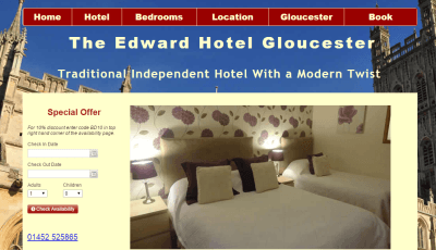 Staying at the Edward Hotel in Gloucester, England