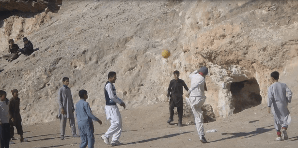 Playing football in Afghanistan