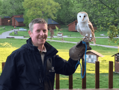 Gerry the Forest Ranger at Forest of Dean and his owl, The Professor