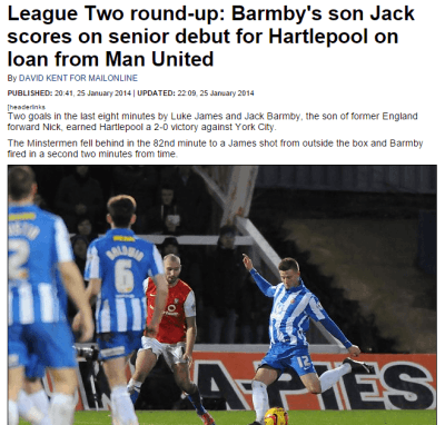 Jack Barmby scores on Hartlepool debut - Daily Mail