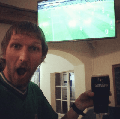 With my Guinness at 3-0 up, celebrating!