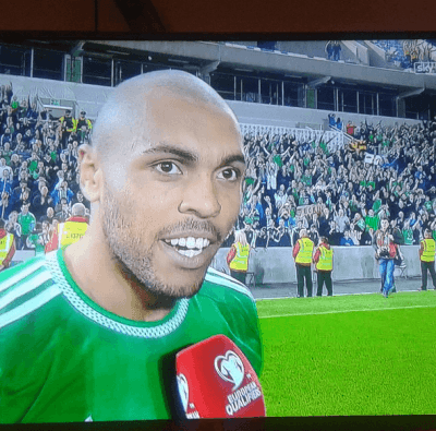 Big Josh Magennis, fellow Kilmaine boy after the match