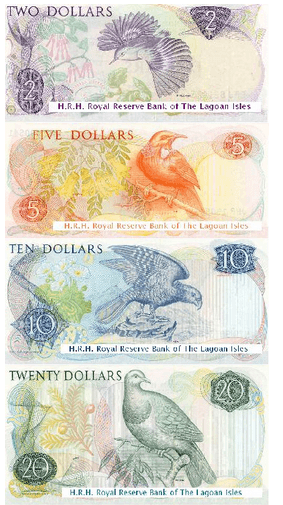 Lagoan Edney Dollars - official currency of the Grand Duchy of the Lagoan Isles