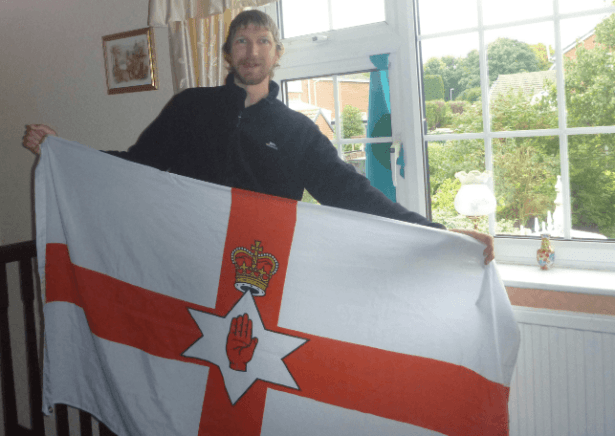 My travelling Northern Ireland flag and The Adammic National Flag in the Imperial City