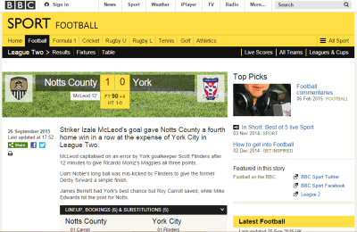 Notts County 1-0 York
