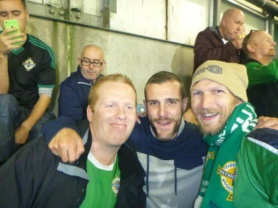 My brother Marko, Austin and I in the Kop for the Faroe Islands match in 2014. We won 2-0.