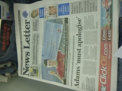 Front page of Northern Ireland's national newspaper that day - ADAMS must apologise