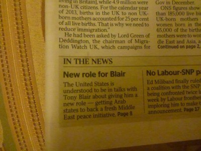The Times that exact day - New Role for BLAIR!