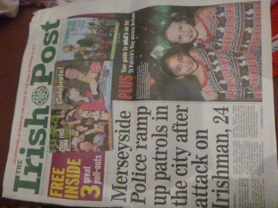 IRISH POST that exact day - Merseyside attack on Irishman