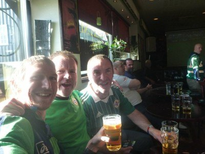 With Nick and Andrew in Glitnin Pub pre match