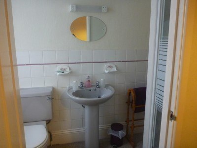 The ensuite bathroom in the Lea Hurst Hotel