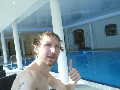 Relaxing in the pool and sauna