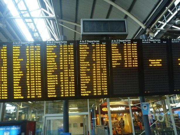 Train noticeboard at Leeds, England