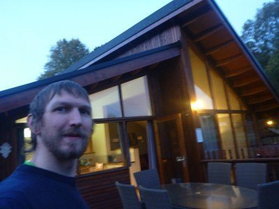 At my hut in the Forest of Dean before my night vision tour.