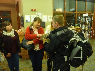 The ladies take it in turns to hold The Professor, the owl