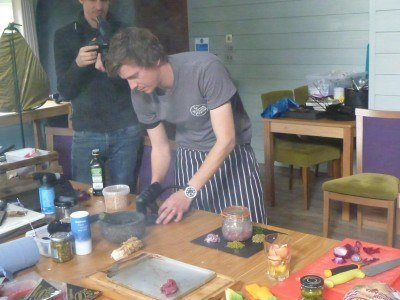 Nick Weston from Hunter Gather Cook serving up a recipe