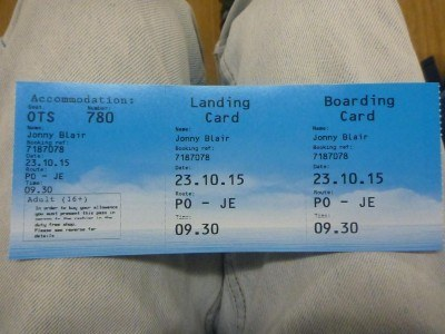 The ticket for the ferry from Poole to Jersey