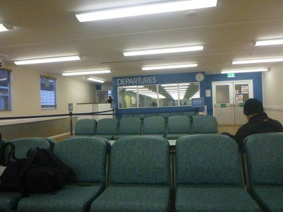 Departure lounge in Poole, England