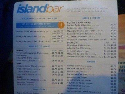 The Island Bar menu