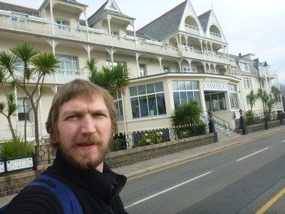Outside the wonderful Ommaroo Hotel in St. Helier, Jersey