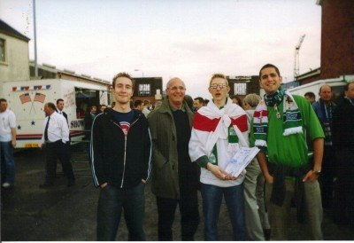 Selling fanzines at Windsor Park for the Spain home match in 2003. We drew 0-0.