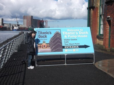My girlfriend touring Titanic's dock