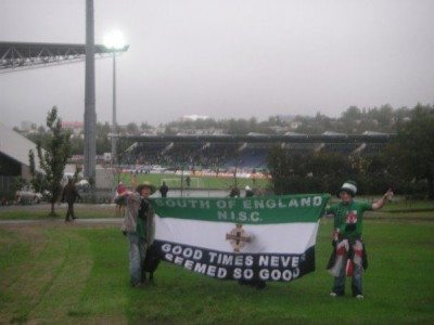 Owen and I at the National Football Stadium in Reykjavik, Iceland