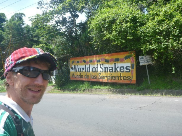 At the entrance to World of Snakes. It's closed.