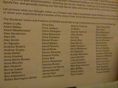 List of Union Crew Members/Volunteers in 2004